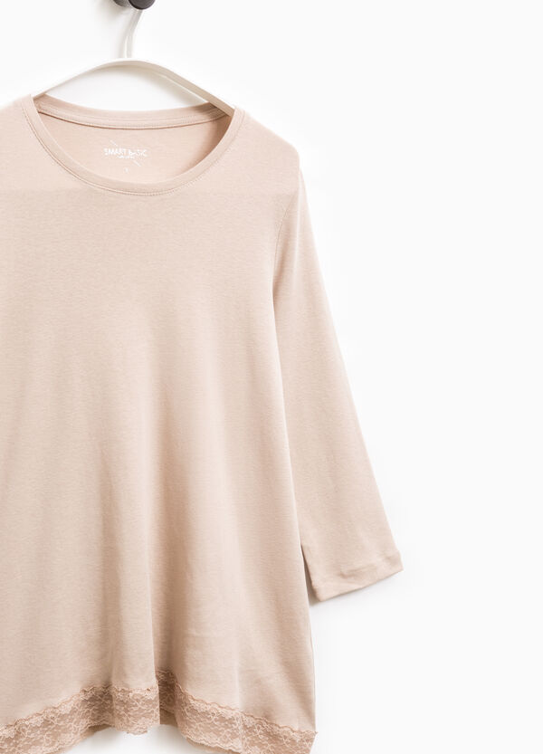 Smart Basic cotton T-shirt with lace | OVS