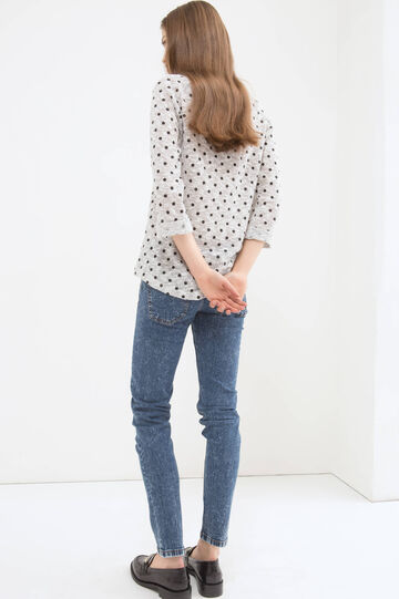Polka dot cotton blend T-shirt, White/Black, hi-res