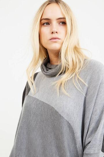 Pullover lungo tricot collo alto Curvy, Grigio, hi-res