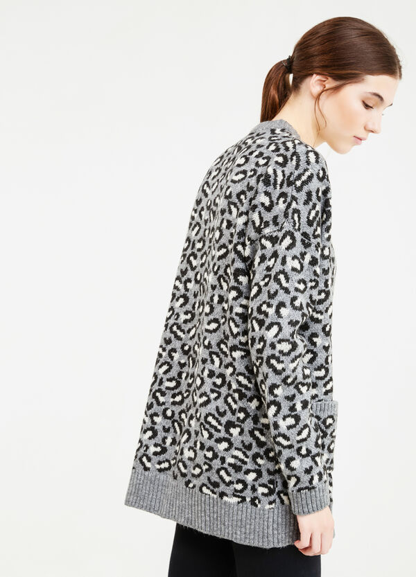 Knitted cardigan with animal pattern | OVS