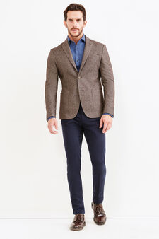 Wool blend and cotton Rumford jacket, Brown, hi-res