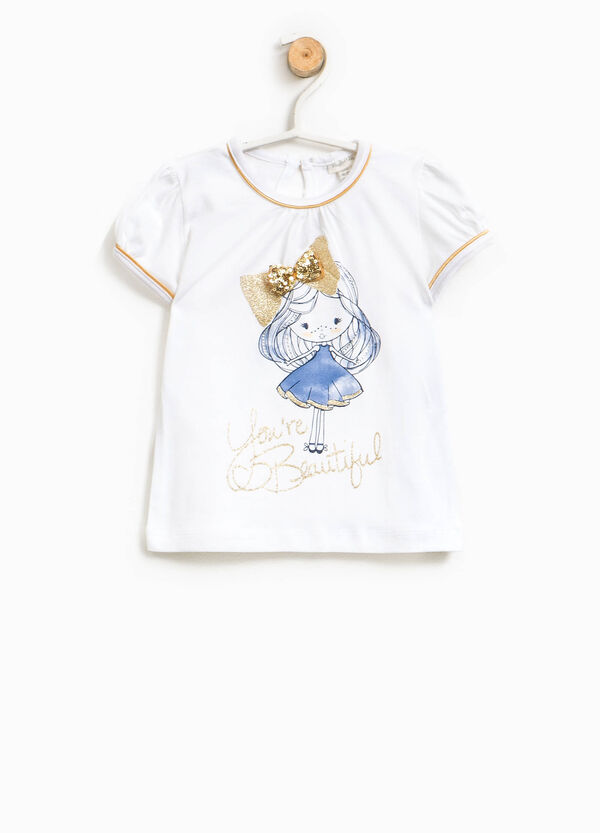 Edged T-shirt with print and bow | OVS