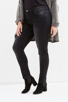 Jeans stretch effetto delavato Curvy, Nero, hi-res