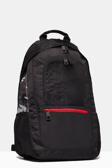 Nylon backpack with camouflage detailing, Black, hi-res