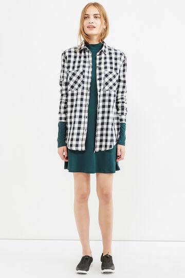 Stretch rayon short dress, Dark Green, hi-res