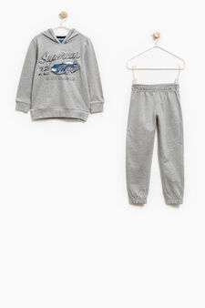 100% cotton tracksuit with hood, Grey Marl, hi-res