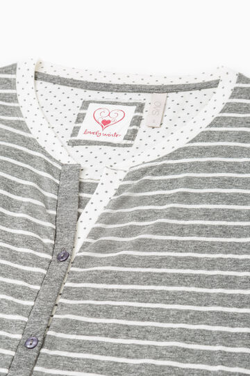 Nightshirt with striped pattern, White/Grey, hi-res