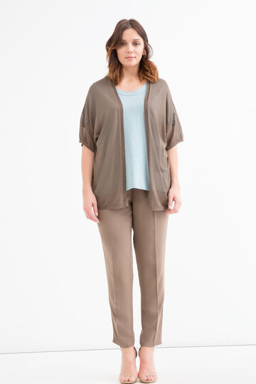 Curvy short-sleeved cardigan, Mud Brown, hi-res