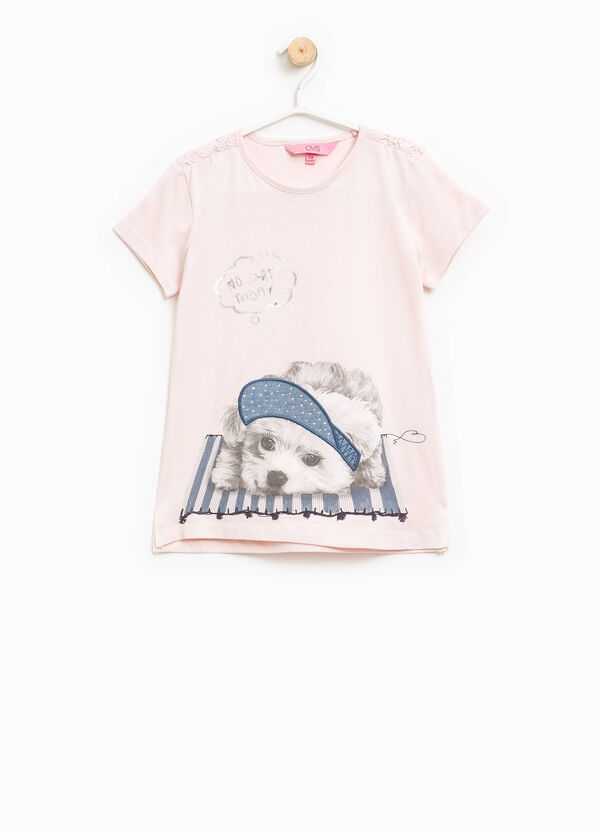 Printed T-shirt with lace and diamantés | OVS