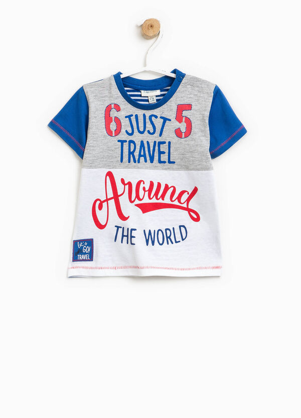 T-shirt with striped back and lettering print | OVS