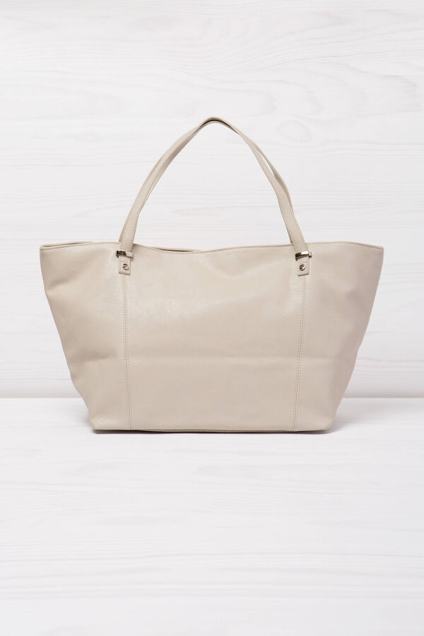 Solid colour leather look shoulder bag. | OVS