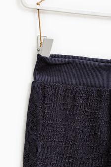 Pantaloni trama in rilievo con pizzo, Blu scuro, hi-res