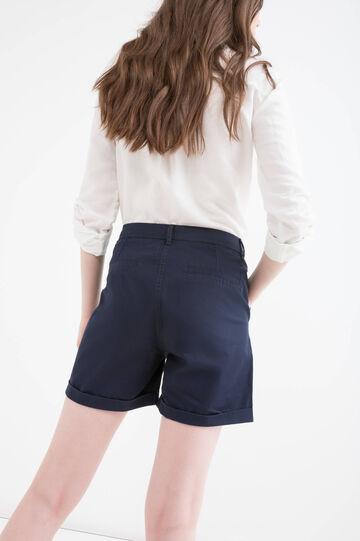 Shorts puro cotone tinta unita, Blu, hi-res