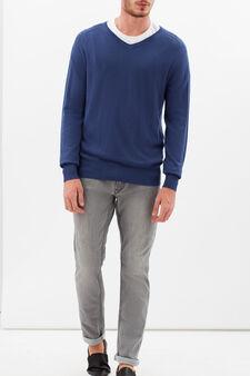 V-neck pullover, Soft Blue, hi-res
