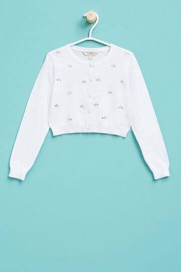 Bolero en punto tricot de algodón con strass, Blanco, hi-res