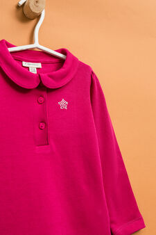 Polo shirt with long sleeves and diamanté design, Fuchsia, hi-res