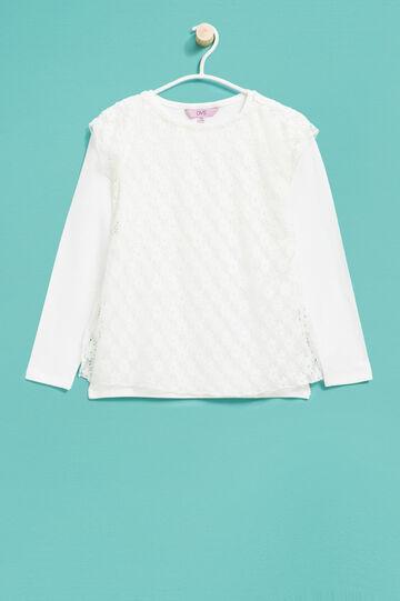 T-shirt con finto doppio in pizzo, Bianco panna, hi-res