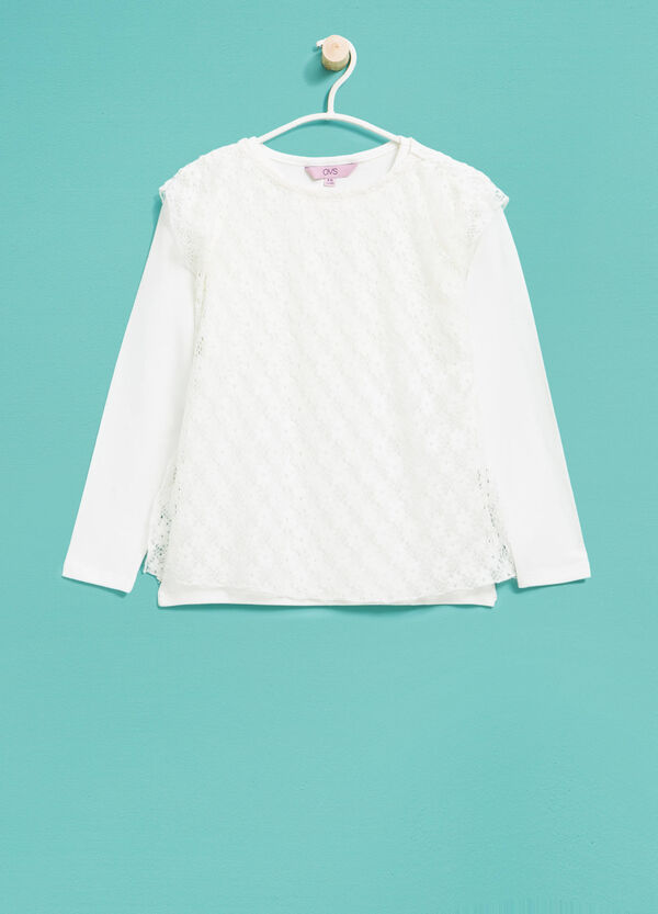 T-shirt with faux layering in lace | OVS