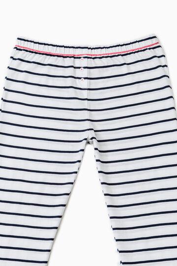 Striped cotton pyjama trousers, White/Blue, hi-res