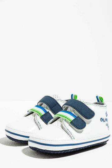 Sneakers con stampa lettering, Bianco/Blu, hi-res