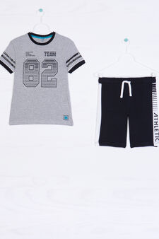 100% cotton outfit with printed lettering, Black/Grey, hi-res