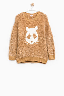 Fur pullover with embroidery, Camel, hi-res