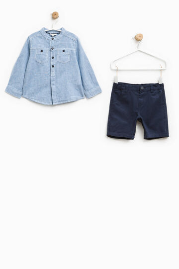 Striped shirt and Bermuda shorts set, White/Blue, hi-res
