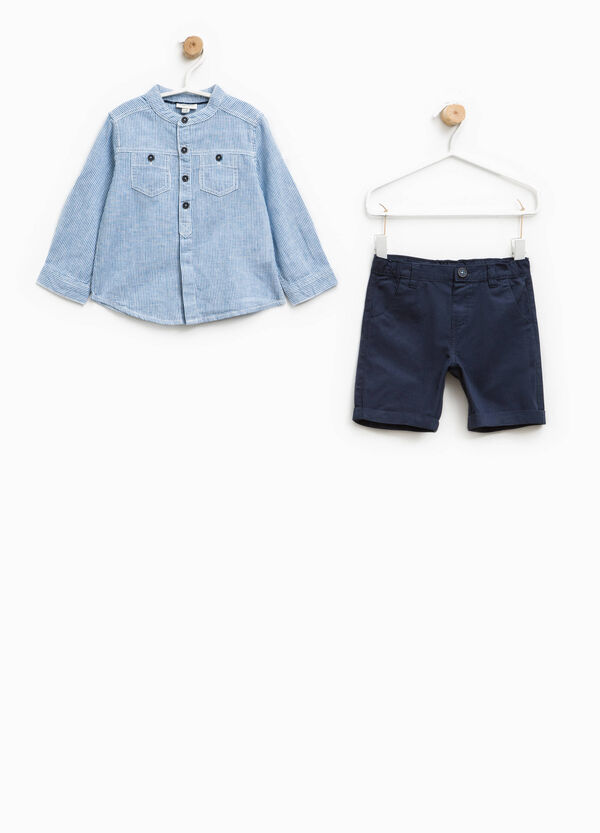 Striped shirt and Bermuda shorts set | OVS