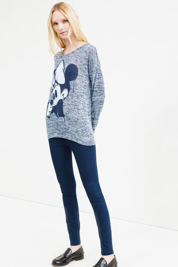 Stretch viscose T-shirt with Minnie Mouse print, Light Blue, hi-res