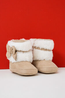 Ankle boots with faux fur, Beige, hi-res