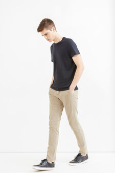 Slim fit, stretch cotton chino trousers, Dove Grey, hi-res