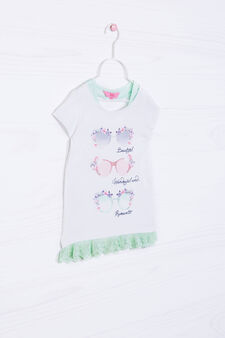 Stretch cotton T-shirt with lace., White/Green, hi-res