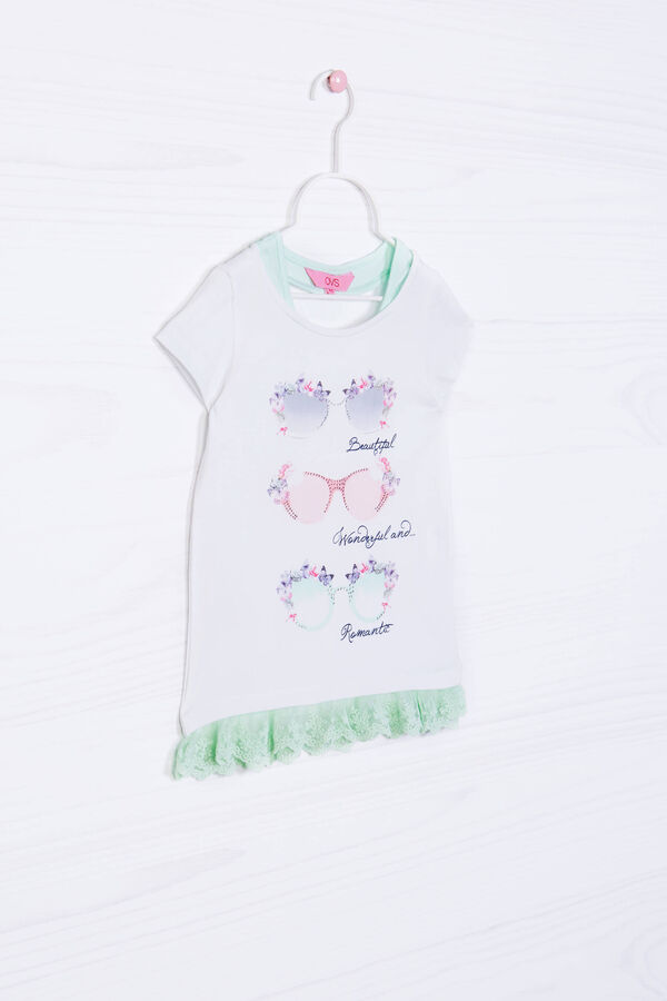 Stretch cotton T-shirt with lace. | OVS