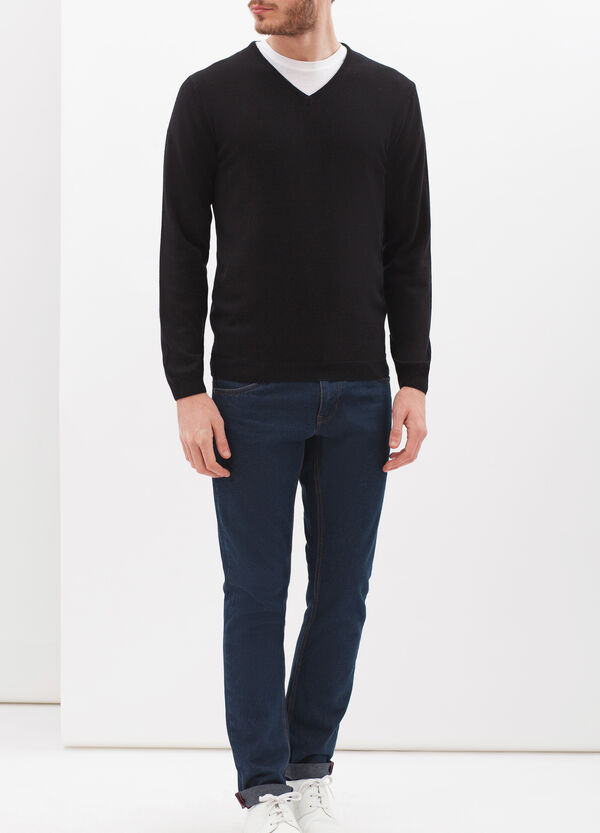 V-neck pullover in silk and cashmere | OVS