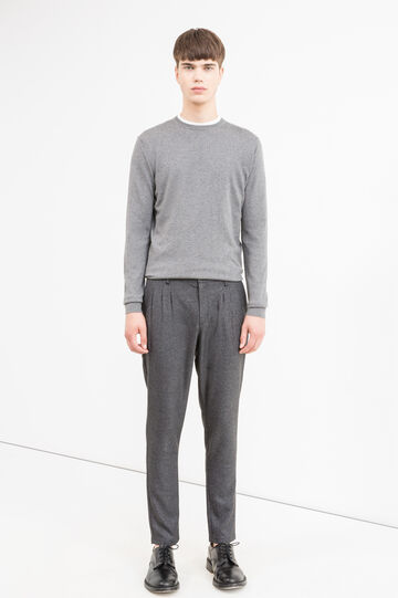 Pantaloni baggy misto viscosa stretch, Grigio scuro, hi-res