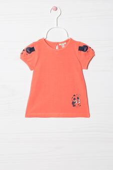 Printed stretch T-shirt, Coral Pink, hi-res
