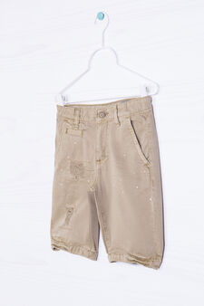 Bermuda shorts 100% cotton with rips, Beige, hi-res