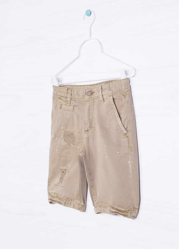 Bermuda shorts 100% cotton with rips | OVS