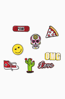 Set of eight patches in various shapes, Multicolour, hi-res