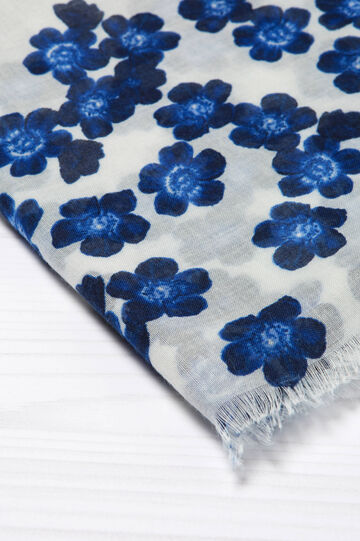 Floral print scarf, White/Blue, hi-res