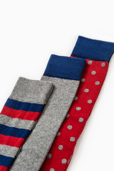 Three-pair pack patterned stretch cotton socks, Red, hi-res