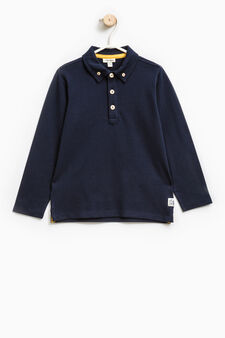 Stretch cotton polo shirt with button-down collar, Navy Blue, hi-res