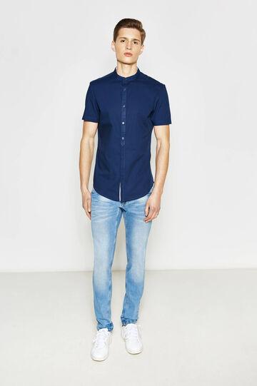 Slim fit, short sleeved casual shirt, Blue, hi-res