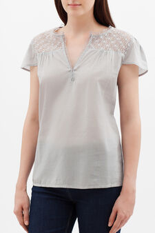 Blouse with openwork inserts, Grey/Silver, hi-res