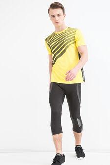 T-shirt sportiva stampa a contrasto, Giallo, hi-res