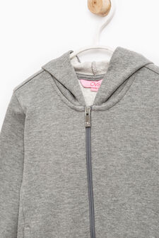 Solid colour 100% cotton sweatshirt, Grey Marl, hi-res