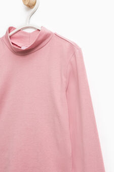 Stretch cotton T-shirt with lace, Pink, hi-res