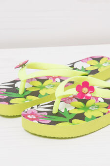 Thong sandals with floral pattern, Green, hi-res
