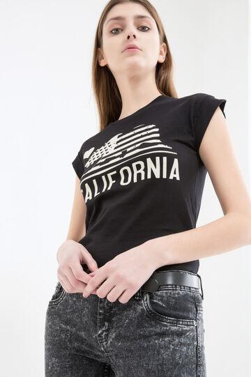 T-shirt stampa e maniche ad aletta, Nero, hi-res