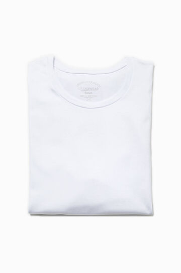 Cotton undershirt with crew neck, Optical White, hi-res